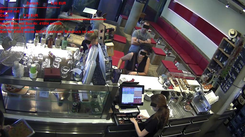 KassenVideo Alpha11 am Beispiel der iPOS Kasse mit Einblendung der Bondaten im Kamerabild