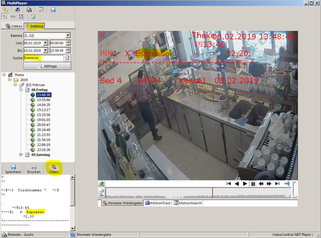Kassendaten-Suche im Videobild bei VideoControl-NET