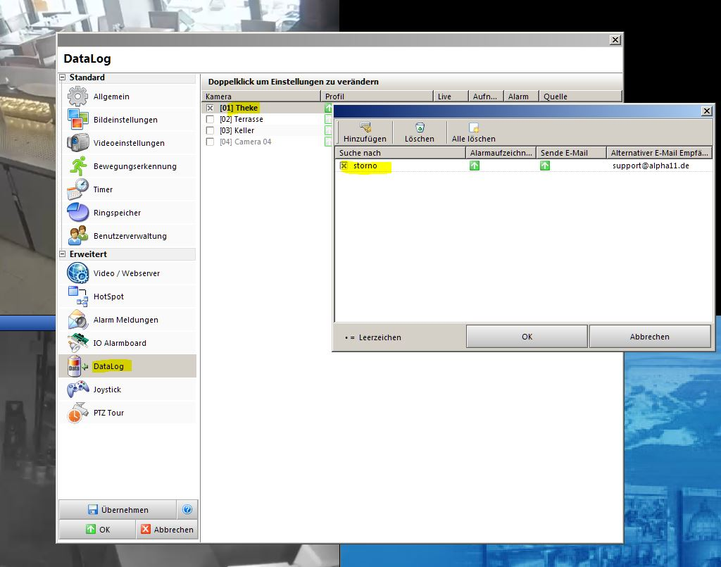 Automatische E-Mail Alarmierung bei kritischen Kassiervorgängen mit Alpha11 VideoControl-NET